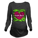 Pink Green Zebra Stripes Long Sleeve Maternity T-S