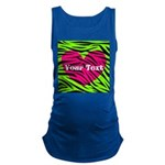 Pink Green Zebra Stripes Maternity Tank Top