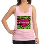 Pink Green Zebra Stripes Racerback Tank Top