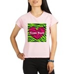 Pink Green Zebra Stripes Performance Dry T-Shirt