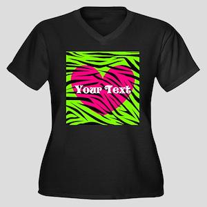 Pink Green Zebra Stripes Plus Size T-Shirt