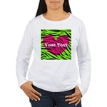 Pink Green Zebra Stripes Long Sleeve T-Shirt