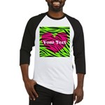 Pink Green Zebra Stripes Baseball Jersey