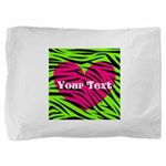 Pink Green Zebra Stripes Pillow Sham