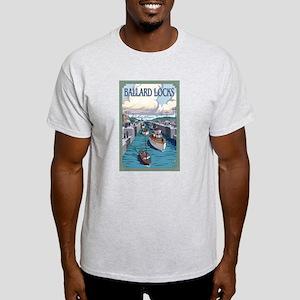 Seattle, Washington - Ballard Locks T-Shirt