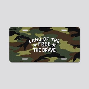 Land of the Free Brave Aluminum License Plate