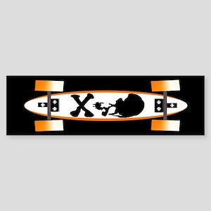 Skull And Skateboard Bumper Sticker