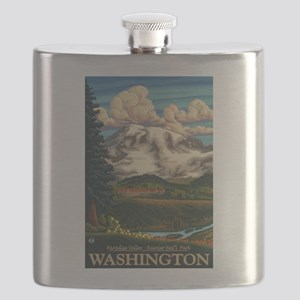 Mt Rainier, Washington - Paradise Inn Flask