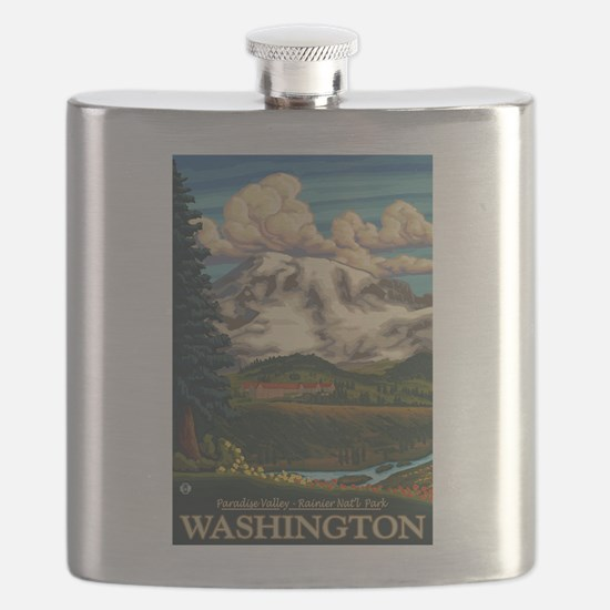 Mt Rainier, Washington - Paradise Inn Flask