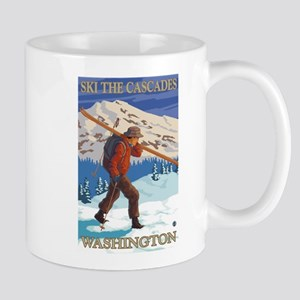 Cascades, Washington - Skier Carrying Skiis Mugs