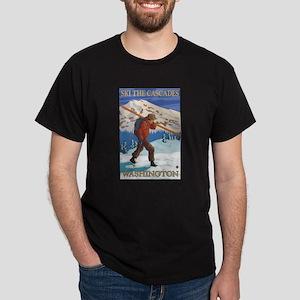 Cascades, Washington - Skier Carrying Skiis T-Shir
