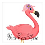 Pink Flamingo Lady Square Car Magnet 3