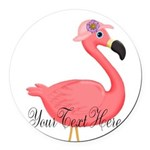 Pink Flamingo Lady Round Car Magnet