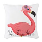 Pink Flamingo Lady Woven Throw Pillow