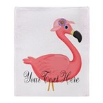 Pink Flamingo Lady Throw Blanket