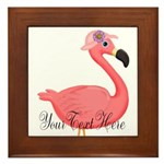 Pink Flamingo Lady Framed Tile
