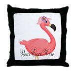 Pink Flamingo Lady Throw Pillow