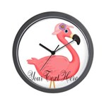 Pink Flamingo Lady Wall Clock