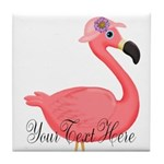 Pink Flamingo Lady Tile Coaster