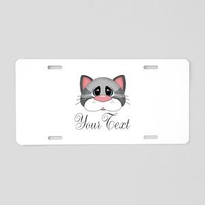 Gray Cat Aluminum License Plate