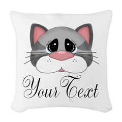Gray Cat Woven Throw Pillow