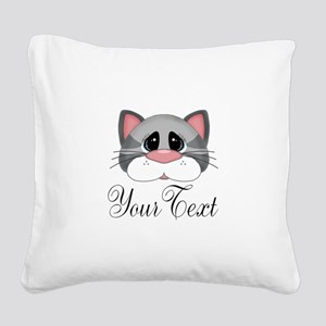 Gray Cat Square Canvas Pillow