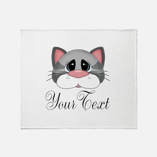 Gray Cat Throw Blanket