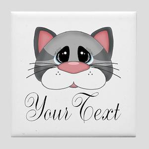 Gray Cat Tile Coaster