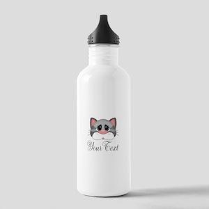 Gray Cat Water Bottle