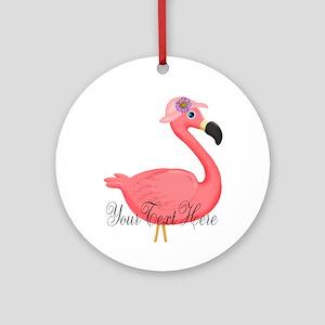 Pink Flamingo Lady Round Ornament