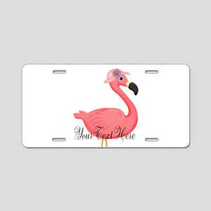 Pink Flamingo Lady Aluminum License Plate