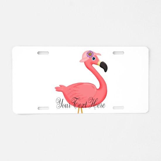 Pink Flamingo Lady Aluminum License Plate