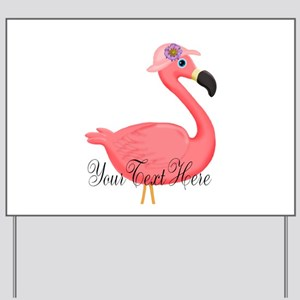 Pink Flamingo Lady Yard Sign