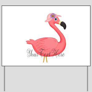 Pink Flamingo Lady Yard Sign