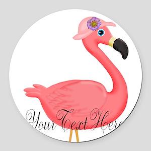 Pink Flamingo Lady Round Car Magnet