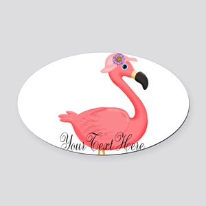 Pink Flamingo Lady Oval Car Magnet