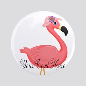 Pink Flamingo Lady Button
