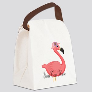 Pink Flamingo Lady Canvas Lunch Bag