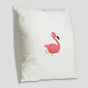 Pink Flamingo Lady Burlap Throw Pillow