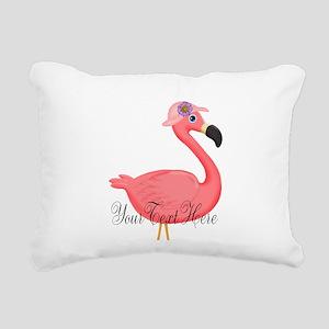 Pink Flamingo Lady Rectangular Canvas Pillow