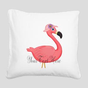 Pink Flamingo Lady Square Canvas Pillow