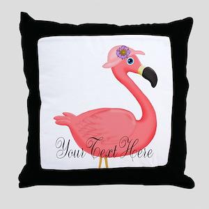 Pink Flamingo Lady Throw Pillow