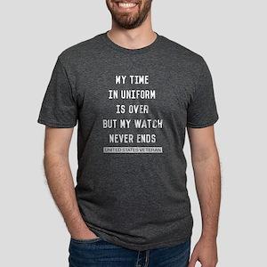 My Watch Never Ends Veteran Mens Tri-blend T-Shirt