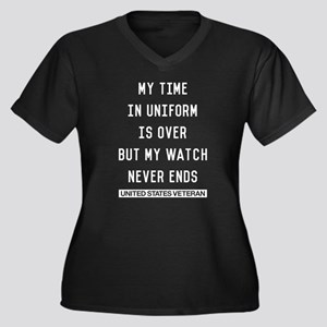 My Watch Nev Women's Plus Size V-Neck Dark T-Shirt