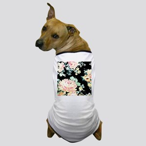 watercolor peony black floral Dog T-Shirt