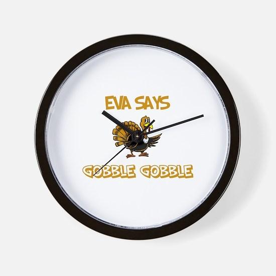 Eva Says Gobble Gobble Wall Clock