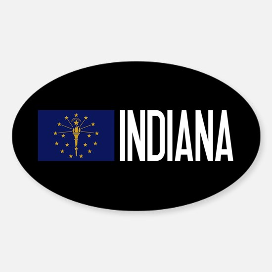 Indiana: Hoosier Flag & Indiana Sticker (Oval)