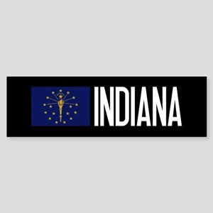 Indiana: Hoosier Flag & Indiana Sticker (Bumper)