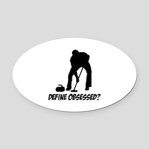 Curling Define Obsessed Oval Car Magnet