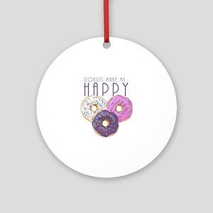 Donuts Make Me Happy Round Ornament